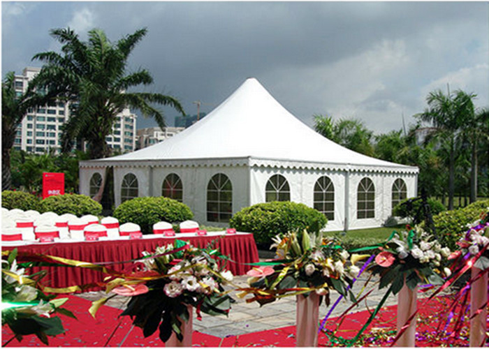 Clear Span White Canvas Pagoda Party Tent For Outdoor Activities Clear Roof Top